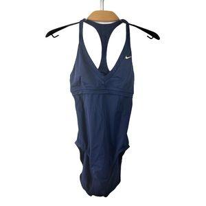Nike Navy Racerback V Neck Open Back Swimsuit US 6